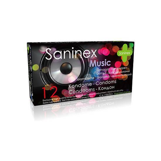 SANINEX PRESERVATIVOS MUSIC PUNTEADOS 12UDS - Cosmética Erótica Preservativos Aromáticos-Sex Shop ARTICULOS EROTICOS