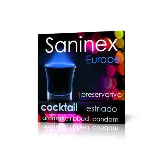 SANINEX COCKTAIL ESTRIADO AROMATICO 1 UD - Cosmética Erótica Preservativos Aromáticos-Sex Shop ARTICULOS EROTICOS