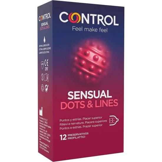 CONTROL PRESERVATIVOS SENSUAL DOTS & LINES 12 UDS - Cosmética Erótica Preservativos Natural - Sex Shop ARTICULOS EROTICOS