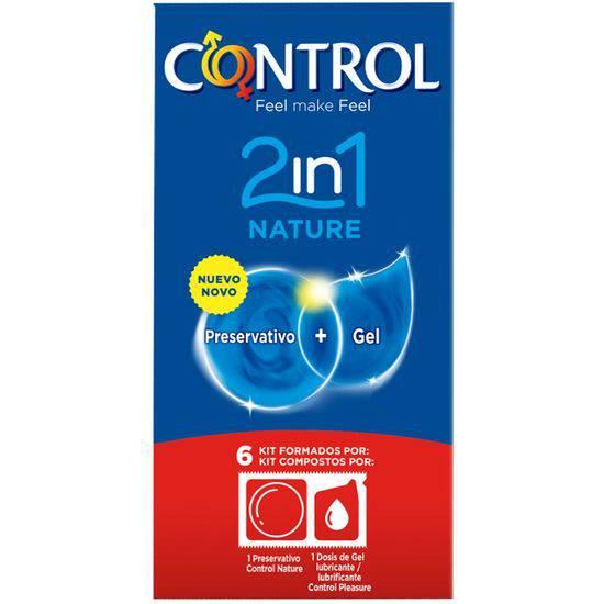 PRESERVATIVOS CONTROL 2IN1 NATURE + LUBE NATURE 6UDS - Cosmética Erótica Preservativos Natural - Sex Shop ARTICULOS EROTICOS
