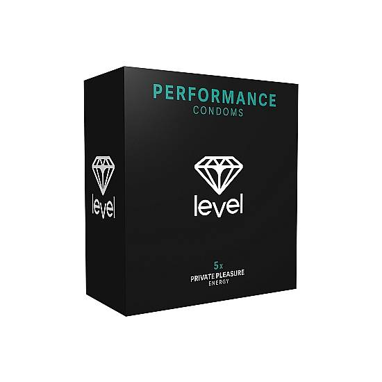 PRESERVATIVOS LEVEL PERFORMANCE CONDOMS - 5UDS - Cosmética Erótica Preservativos Retardante-Sex Shop ARTICULOS EROTICOS