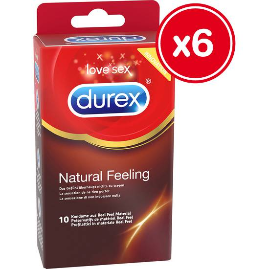 DUREX NATURAL FEELING 10 UDS (6 CAJAS) - ETIQUETAJE EUROPEO | PRESERVATIVOS SENSITIVOS | Sex Shop